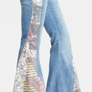 Free People Bali Flare Patchwork Jeans, size 29